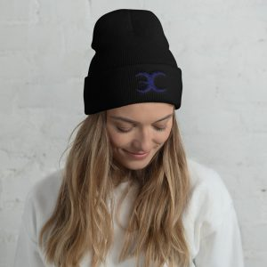 Embrace Chaos Black Beanie with Blue Logo