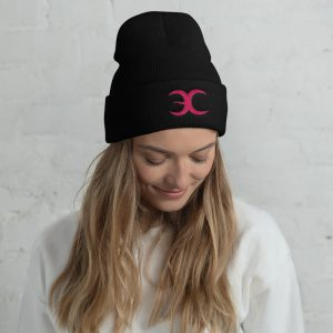 Embrace Chaos Black Beanie with Pink Logo