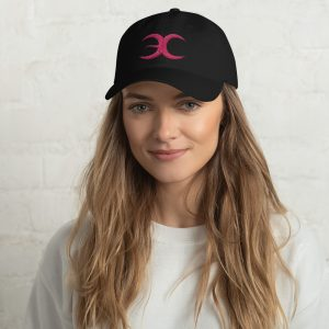 Black Embrace Chaos Dad Hat With Pink Logo
